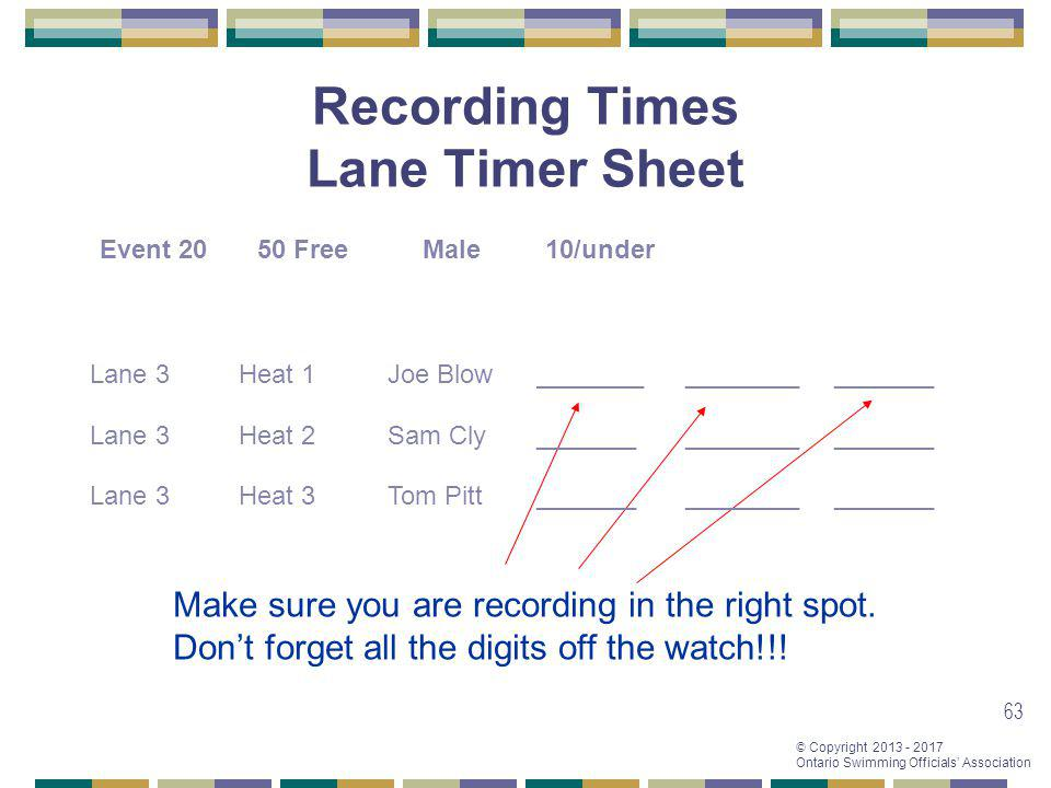 Recording Times Lane Timer Sheet