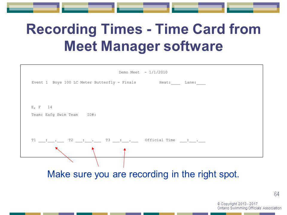 Recording Times - Time Card from Meet Manager software