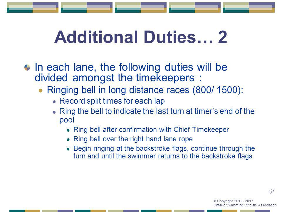 Additional Duties… 2 In each lane, the following duties will be divided amongst the timekeepers : Ringing bell in long distance races (800/ 1500):