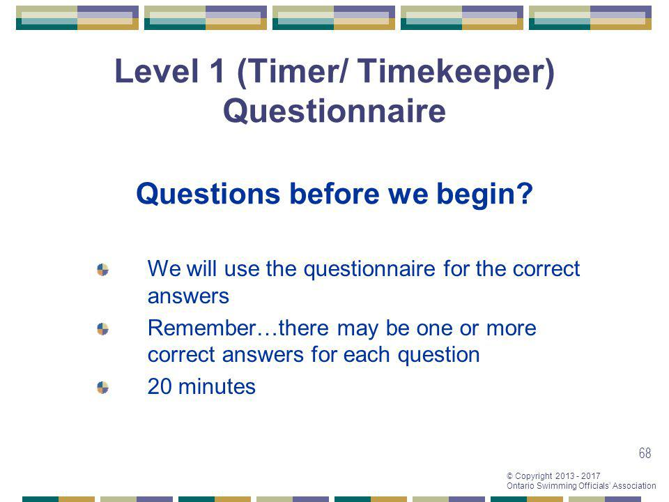 Level 1 (Timer/ Timekeeper) Questionnaire