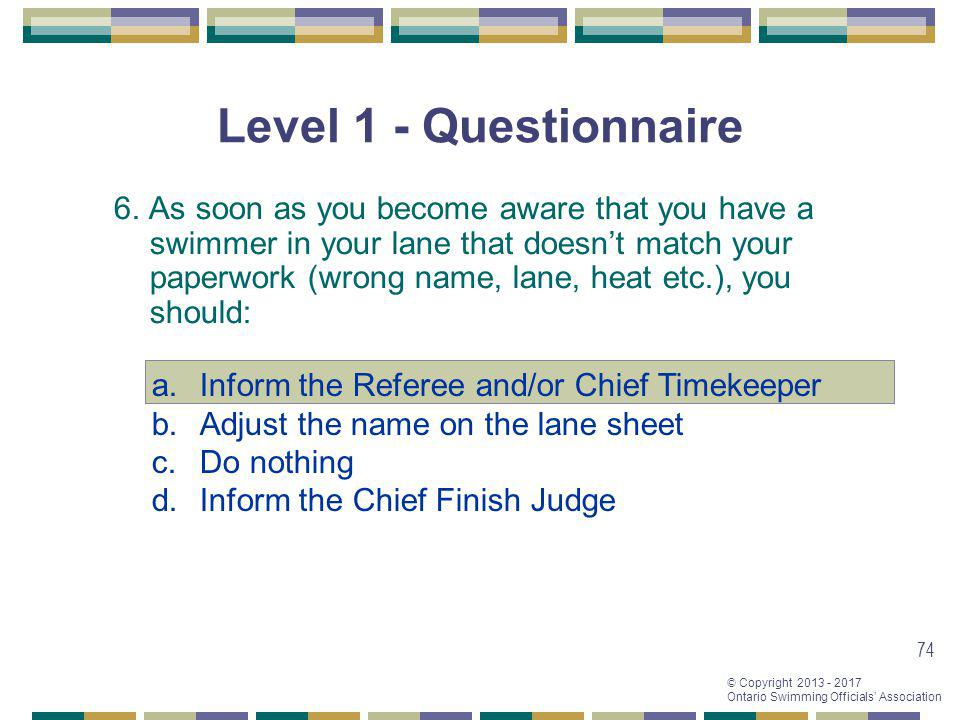 Level 1 - Questionnaire