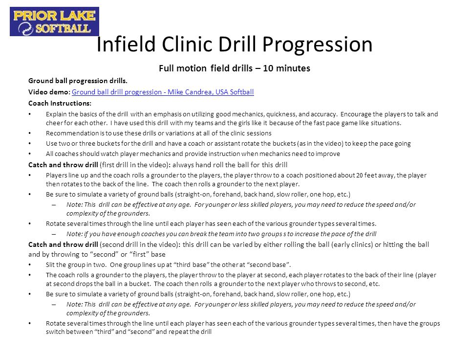 Infield Clinic Drill Progression
