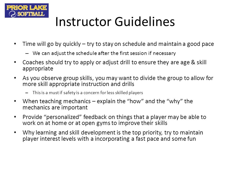 Instructor Guidelines
