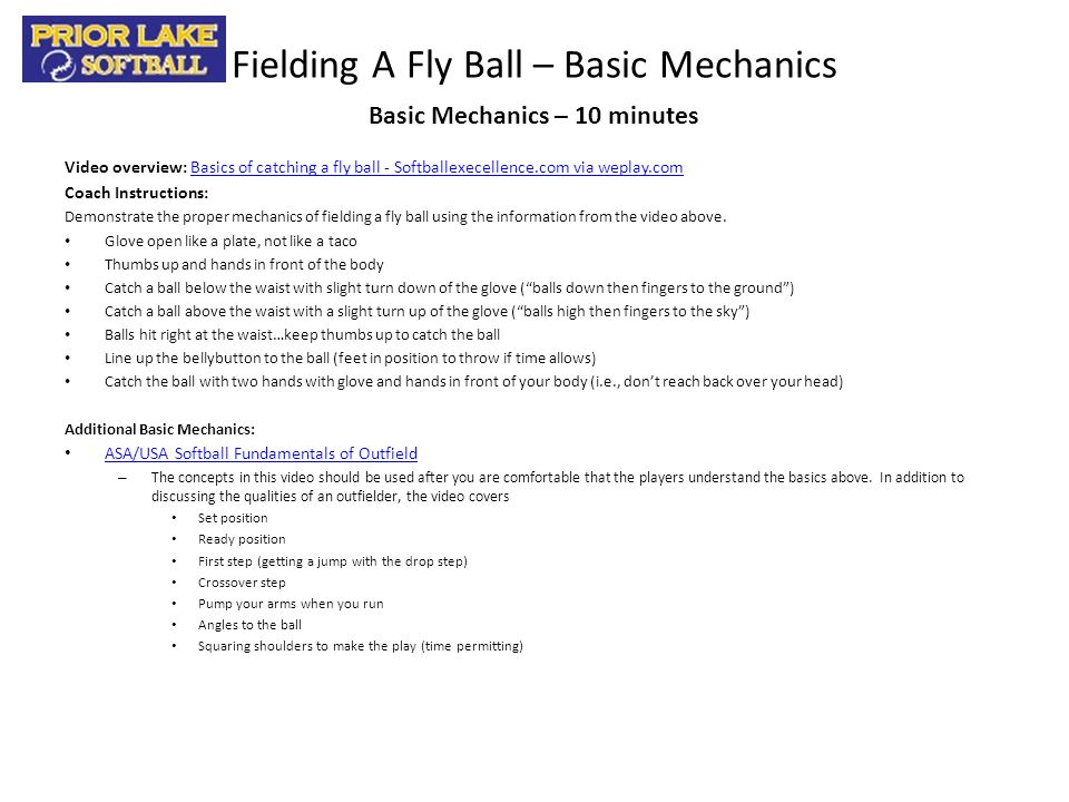 Fielding A Fly Ball – Basic Mechanics