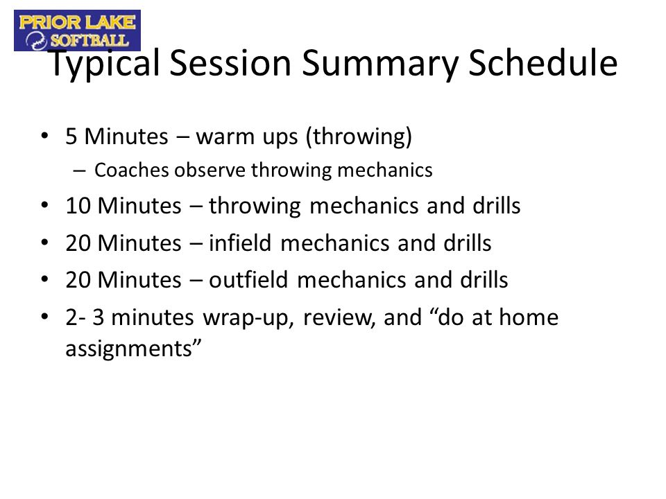Typical Session Summary Schedule