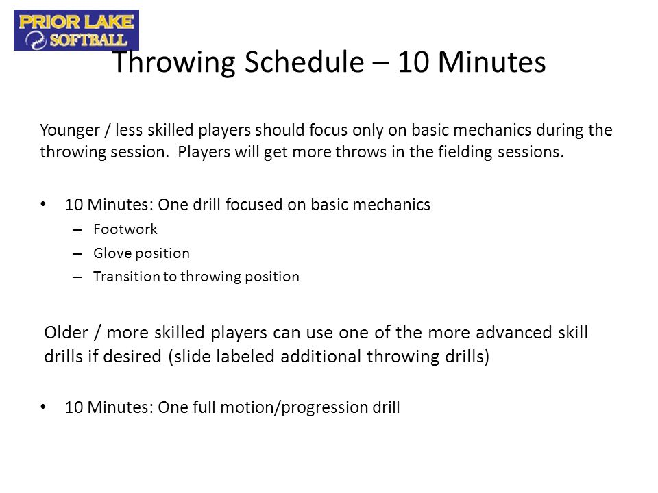 Throwing Schedule – 10 Minutes
