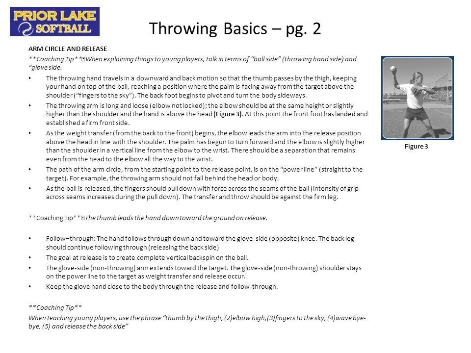 Throwing Basics – pg. 2 ARM CIRCLE AND RELEASE
