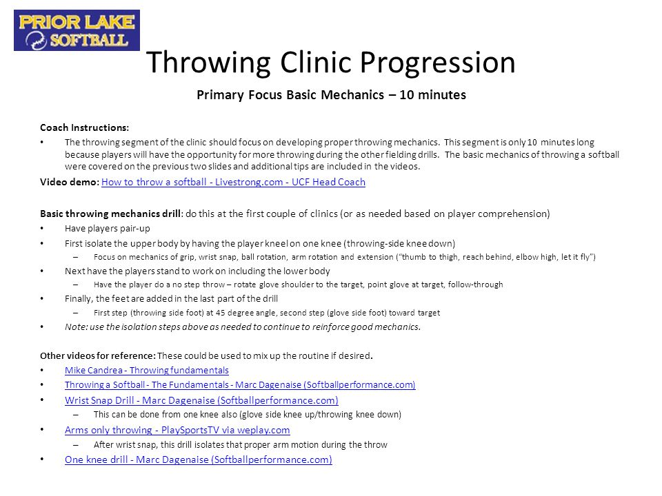 Throwing Clinic Progression