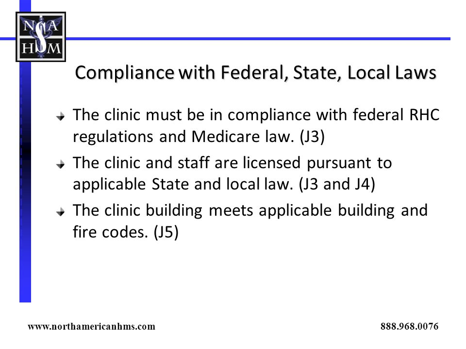 Compliance with Federal, State, Local Laws