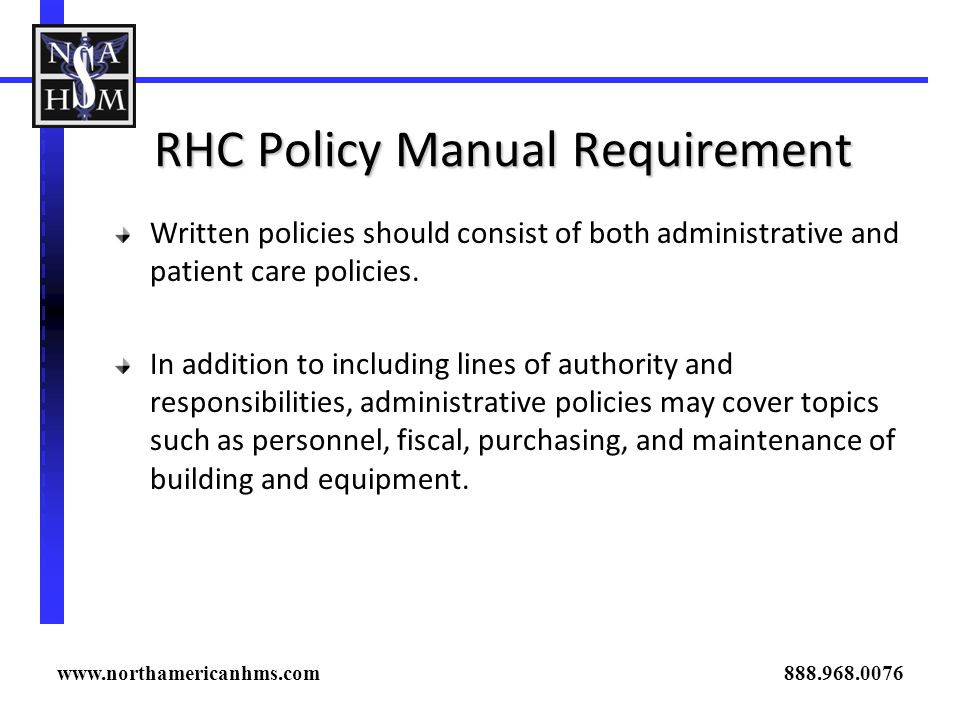 RHC Policy Manual Requirement