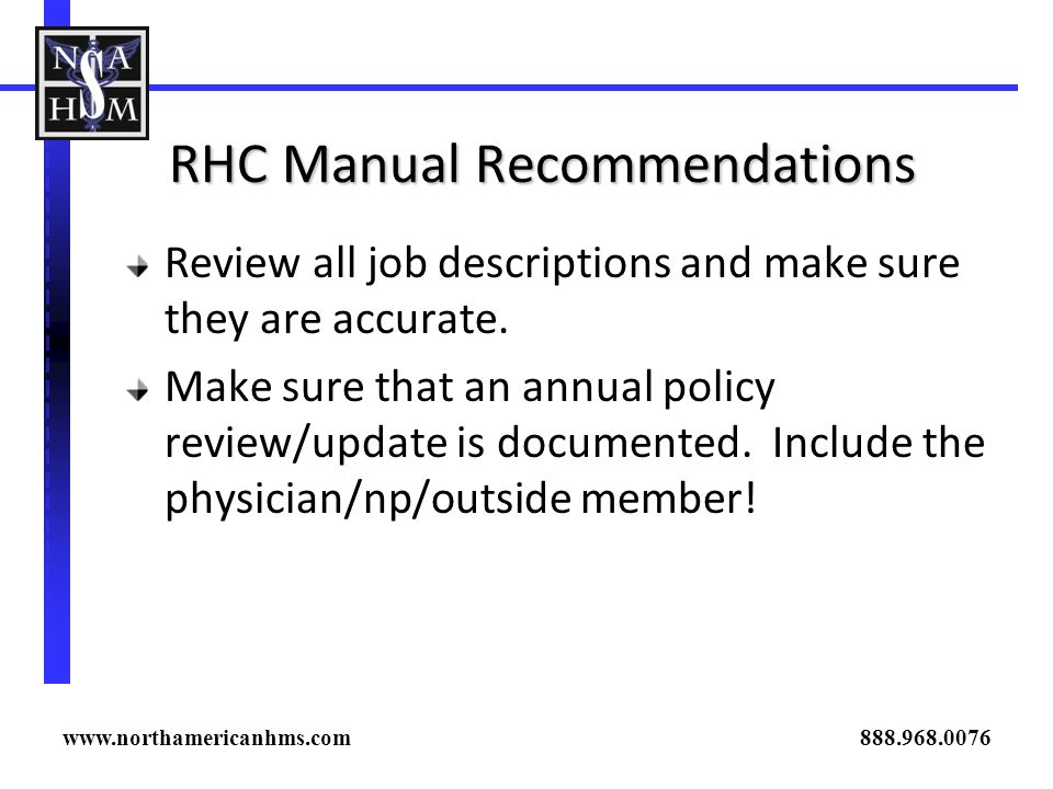 RHC Manual Recommendations