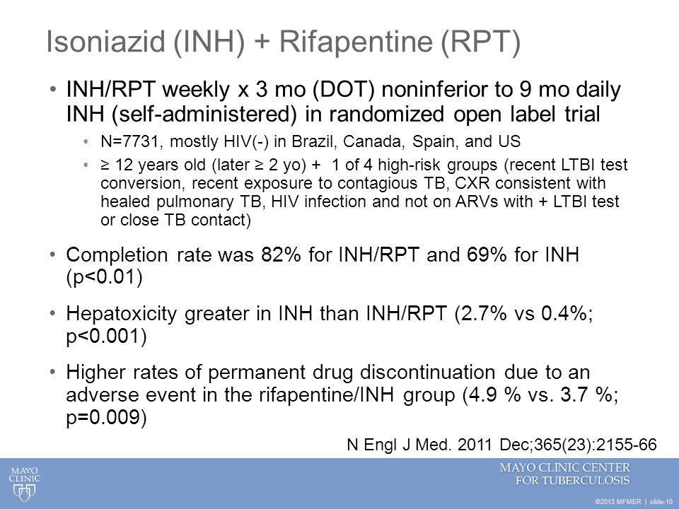 Isoniazid (INH) + Rifapentine (RPT)