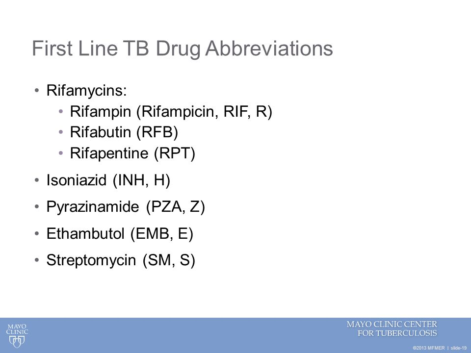 First Line TB Drug Abbreviations