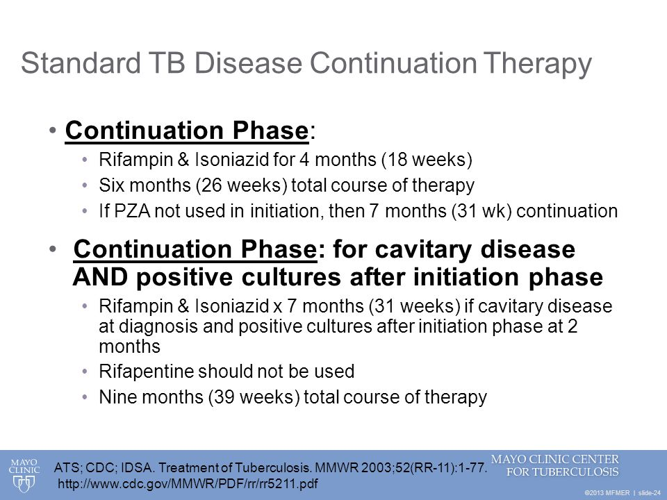 Standard TB Disease Continuation Therapy