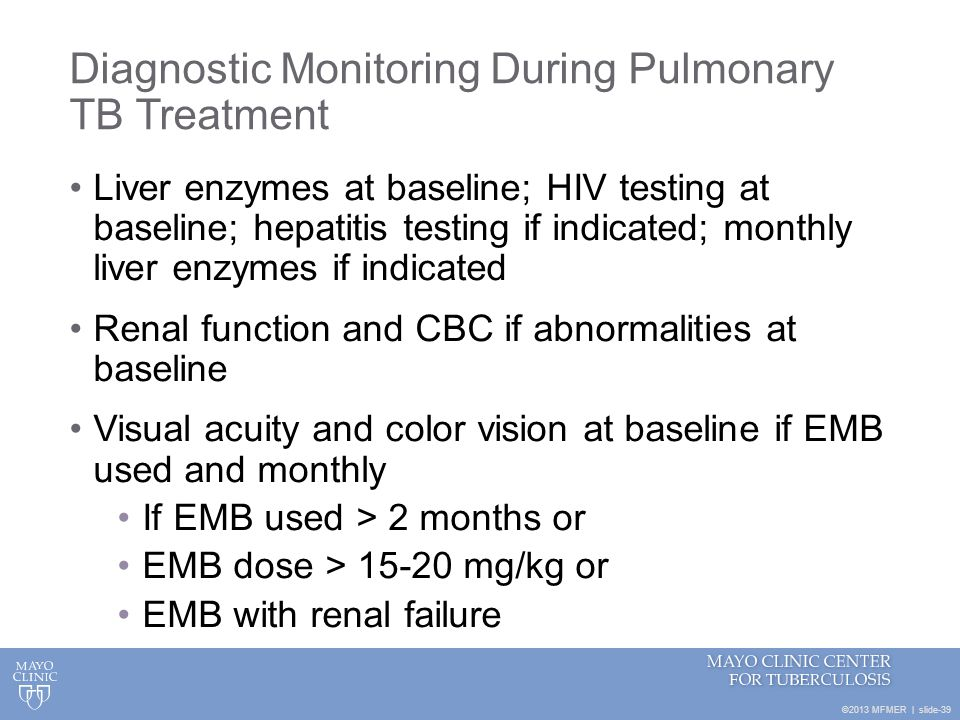 Diagnostic Monitoring During Pulmonary TB Treatment