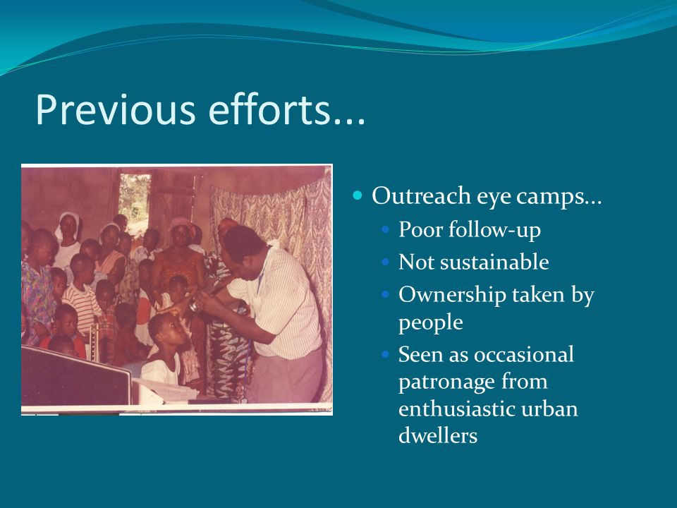 Previous efforts... Outreach eye camps... Poor follow-up