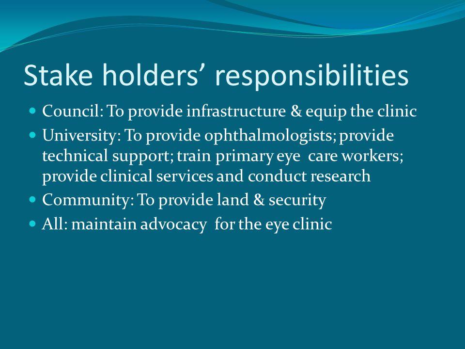 Stake holders' responsibilities