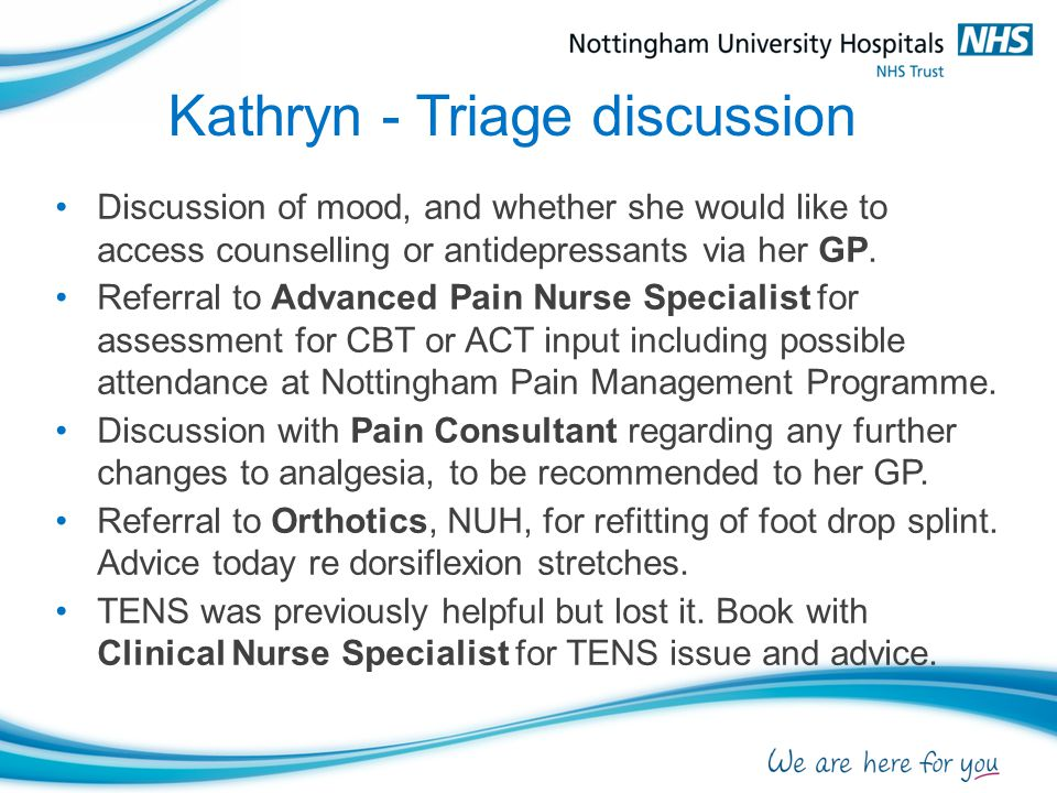 Kathryn - Triage discussion