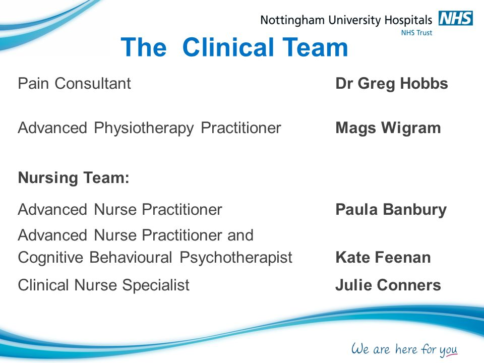 The Clinical Team Pain Consultant Dr Greg Hobbs