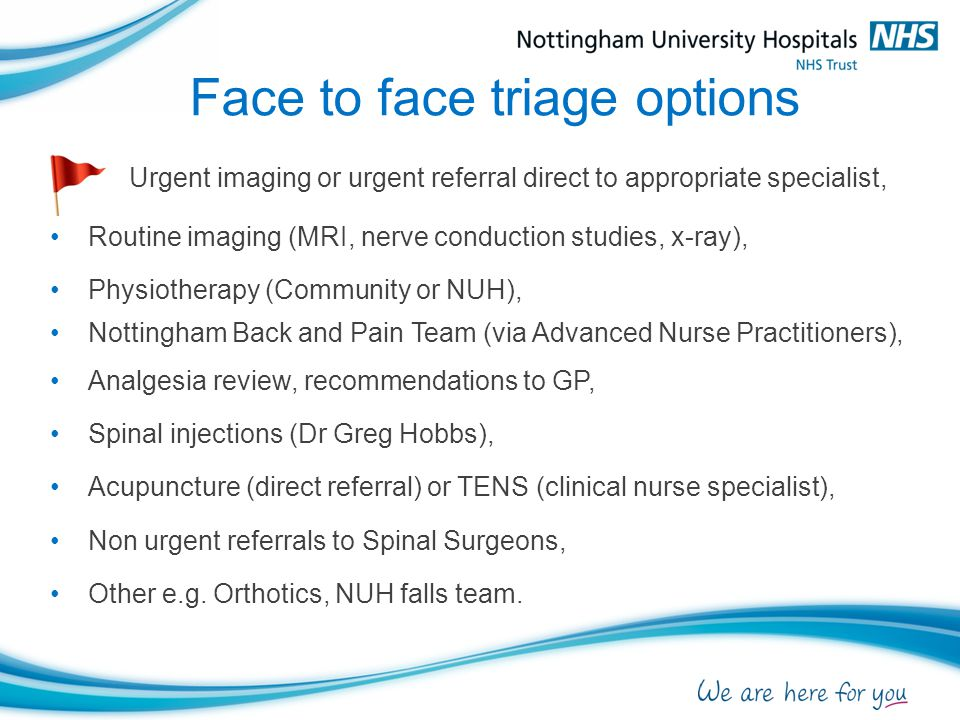 Face to face triage options