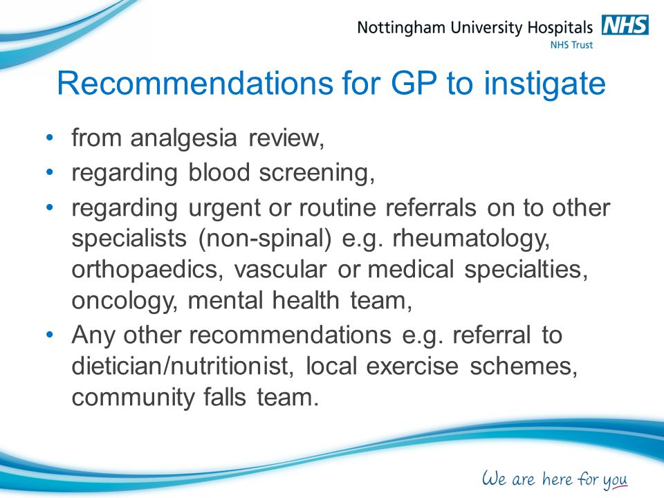 Recommendations for GP to instigate