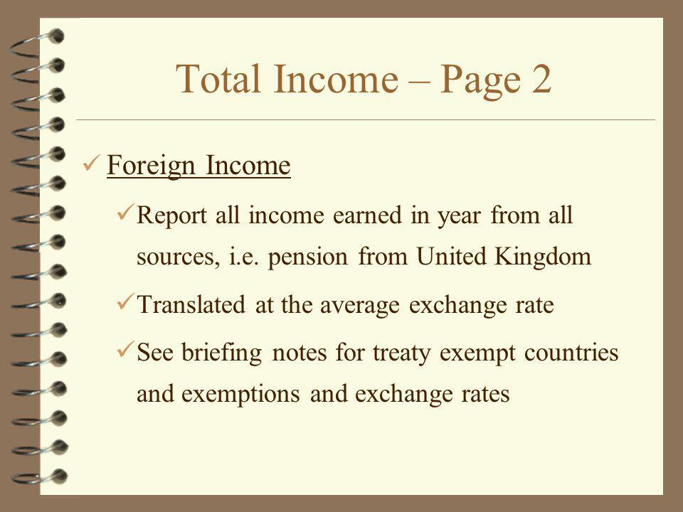 Total Income – Page 2 Foreign Income
