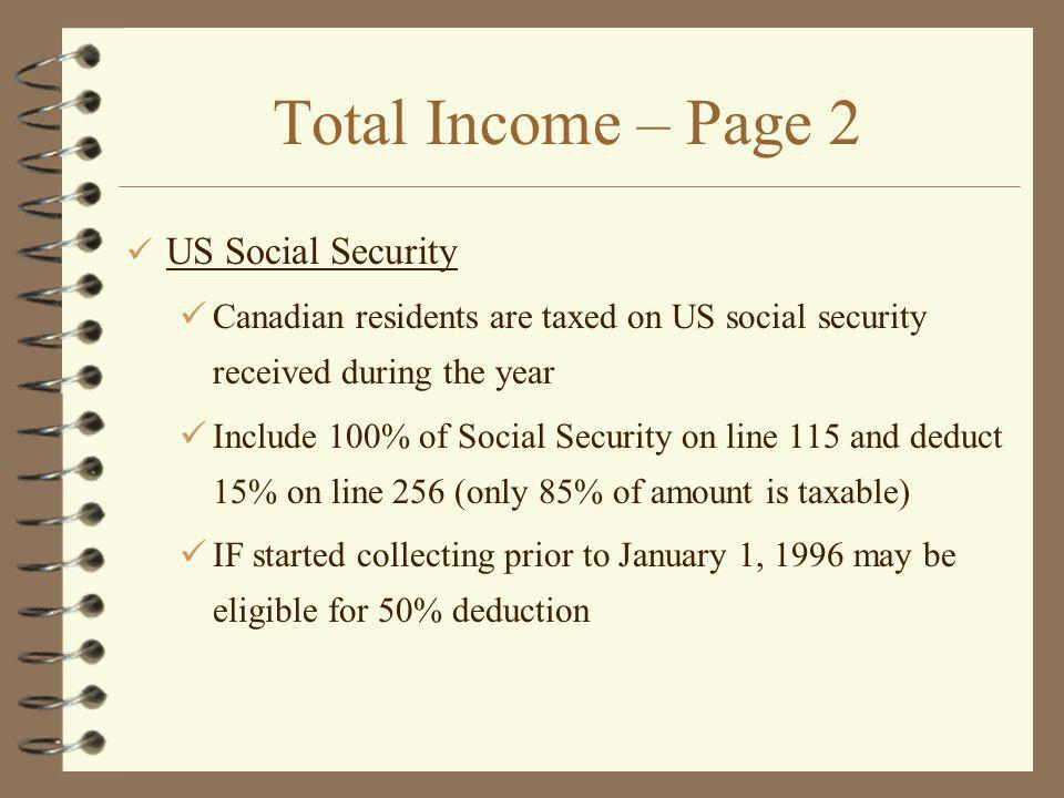 Total Income – Page 2 US Social Security