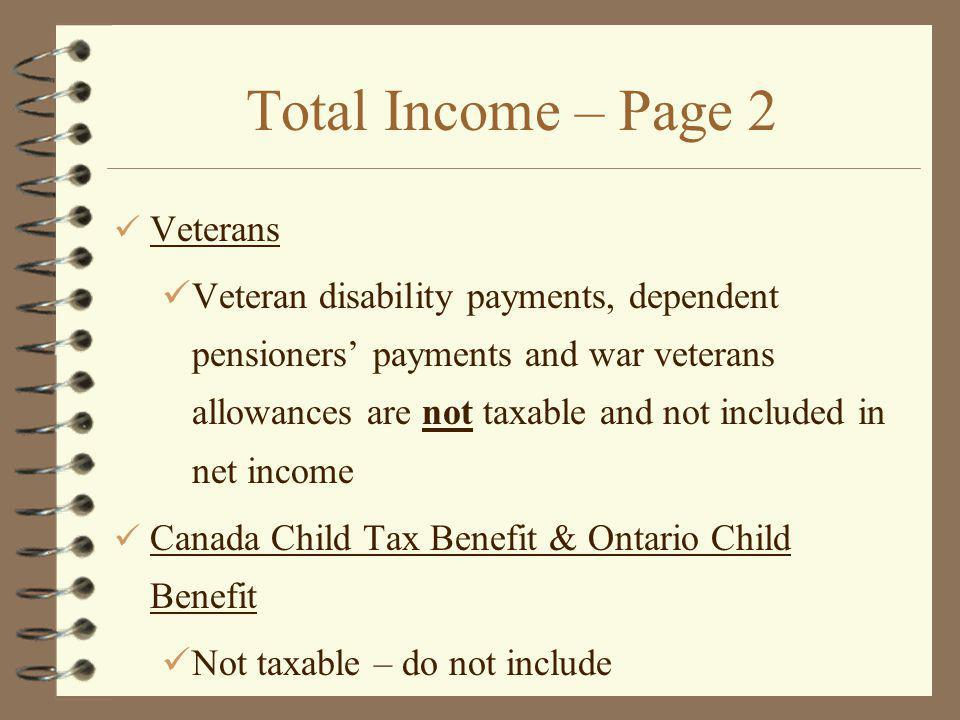 Total Income – Page 2 Veterans