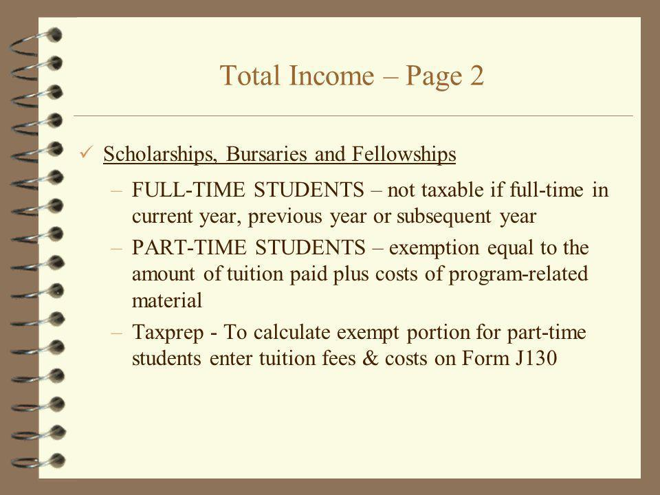 Total Income – Page 2 Scholarships, Bursaries and Fellowships