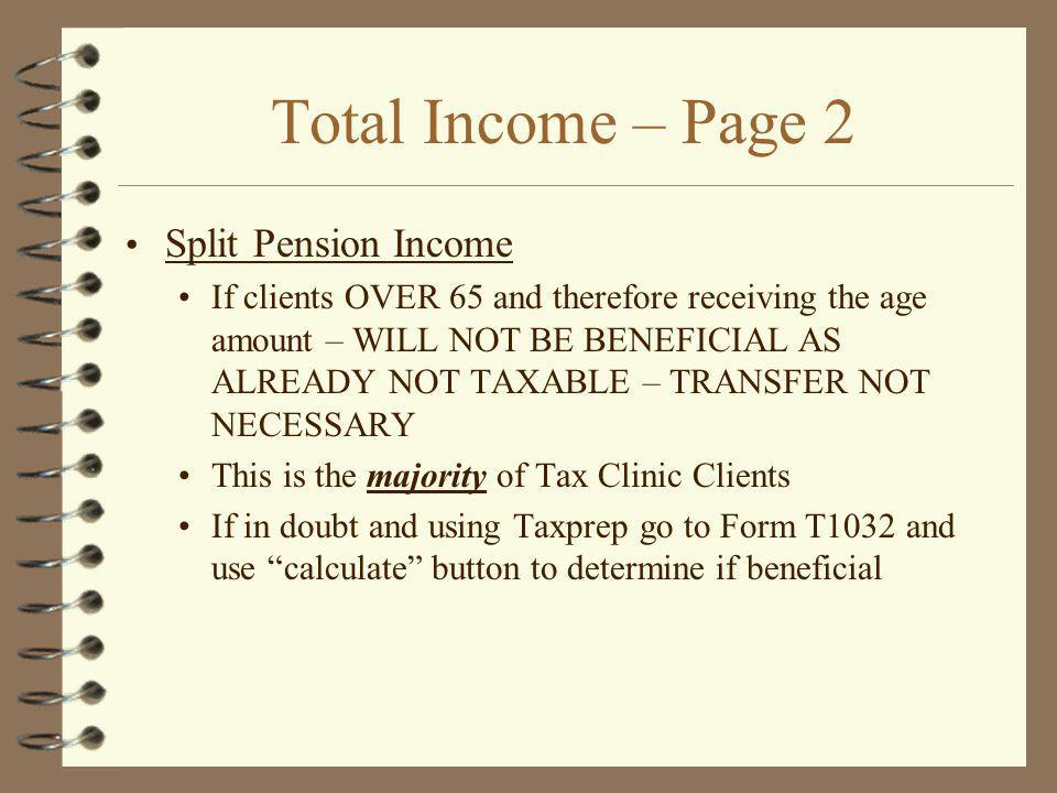 Total Income – Page 2 Split Pension Income
