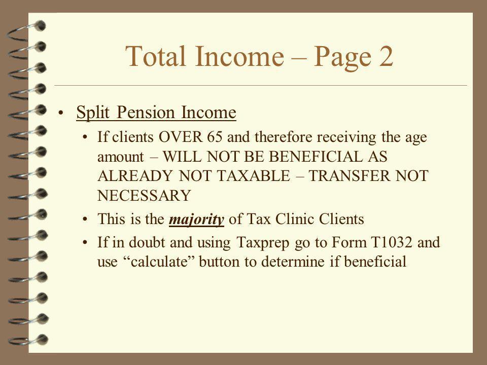 Total Income – Page 2 Split Pension Income