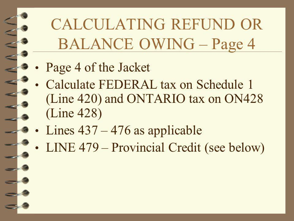CALCULATING REFUND OR BALANCE OWING – Page 4