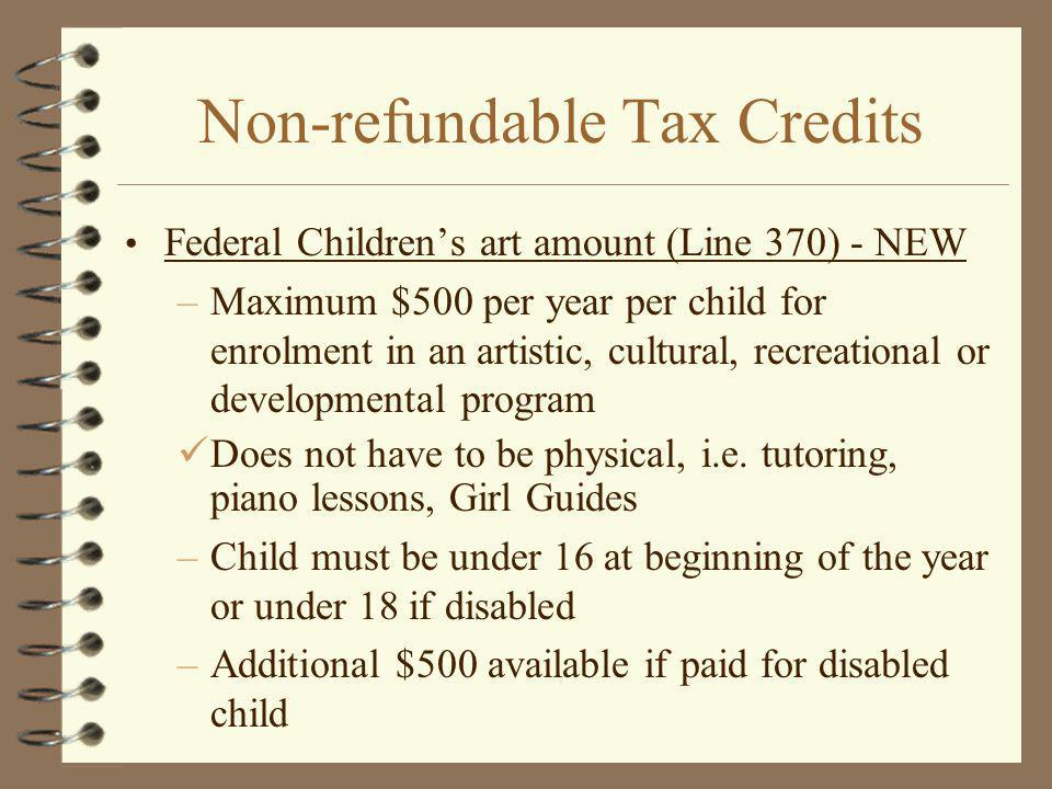 Non-refundable Tax Credits