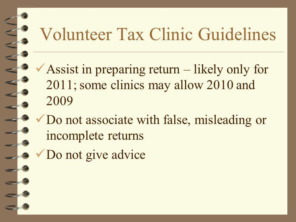 Volunteer Tax Clinic Guidelines