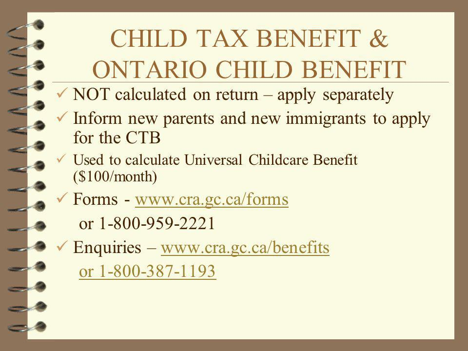 CHILD TAX BENEFIT & ONTARIO CHILD BENEFIT
