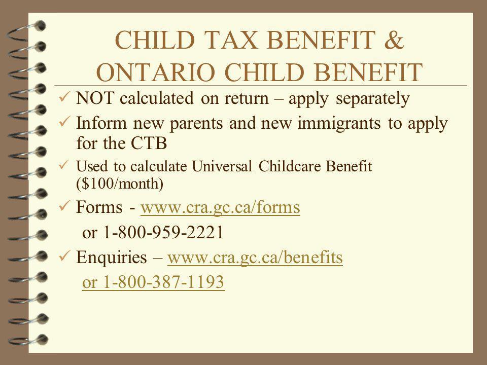 CHILD TAX BENEFIT & ONTARIO CHILD BENEFIT
