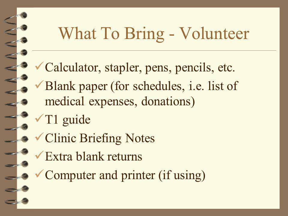 What To Bring - Volunteer