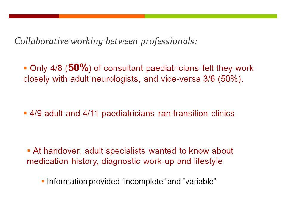 Collaborative working between professionals: