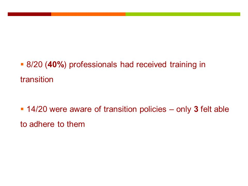 8/20 (40%) professionals had received training in transition