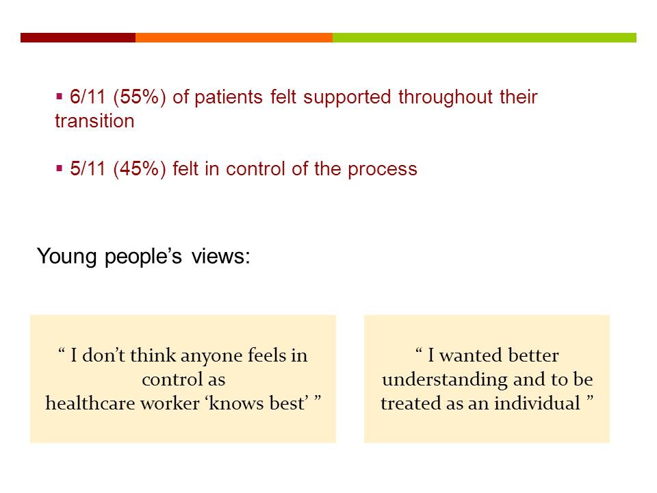 6/11 (55%) of patients felt supported throughout their transition