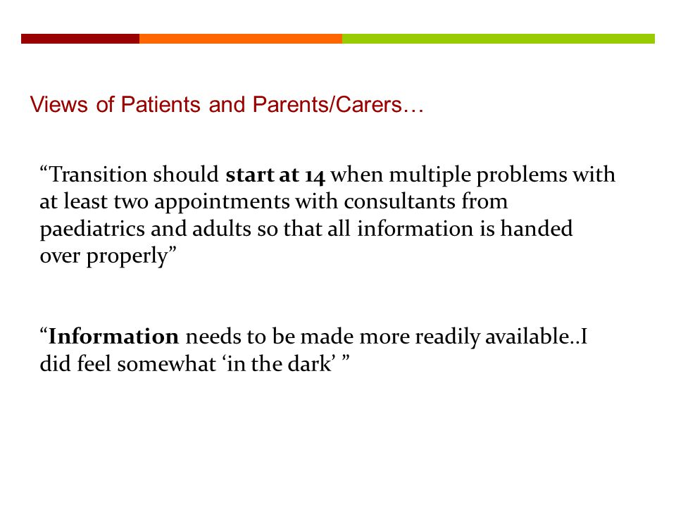 Views of Patients and Parents/Carers…