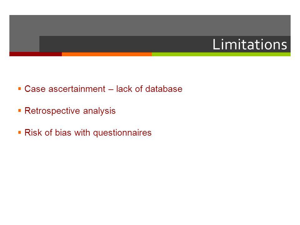 Limitations Case ascertainment – lack of database