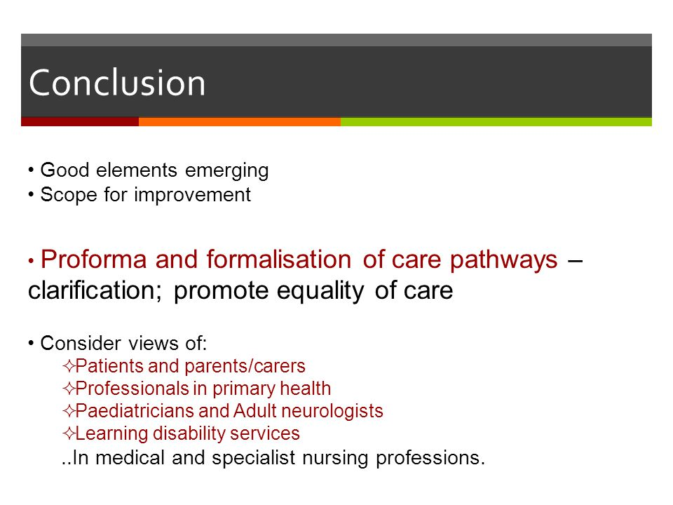 Conclusion Good elements emerging Scope for improvement