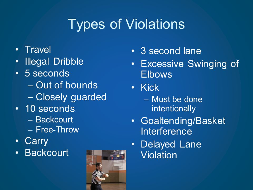 Types of Violations Travel Illegal Dribble 5 seconds Out of bounds