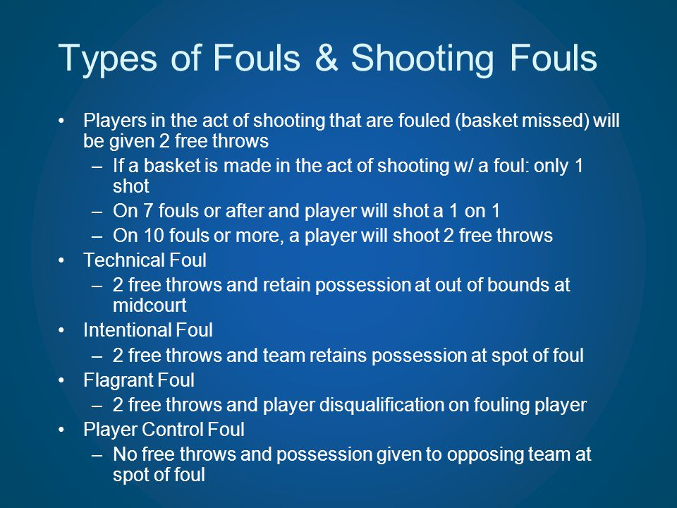 Types of Fouls & Shooting Fouls