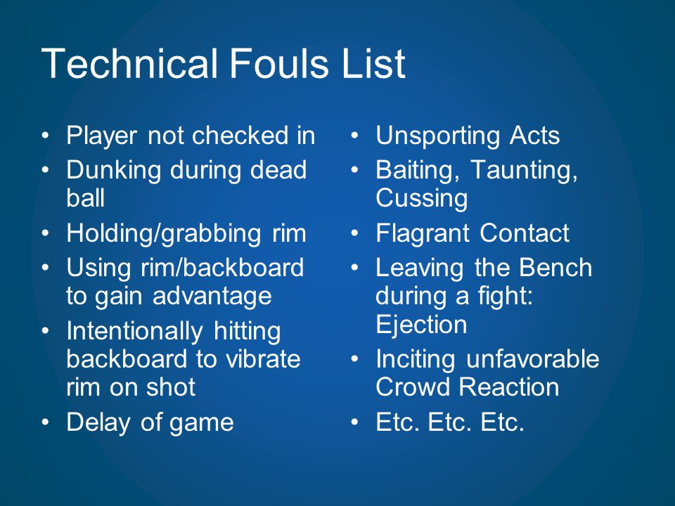 Technical Fouls List Player not checked in Dunking during dead ball