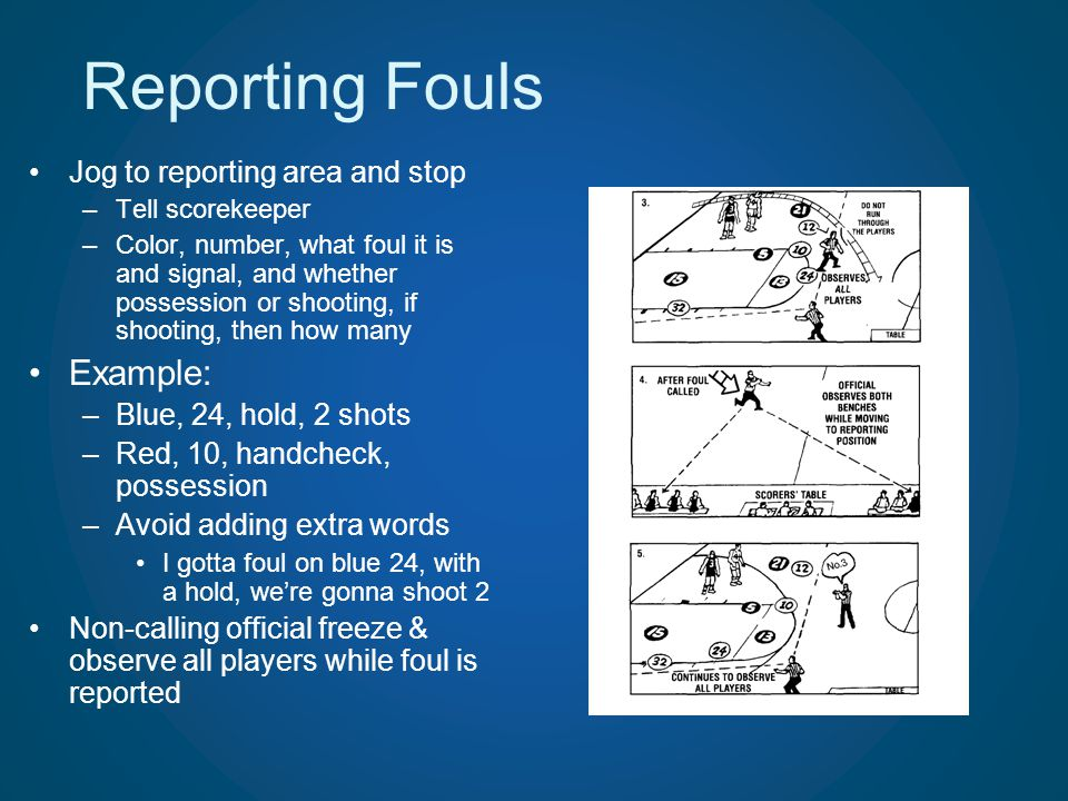 Reporting Fouls Example: Jog to reporting area and stop