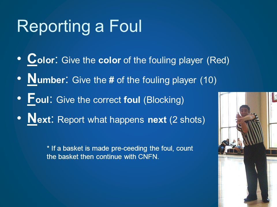 Reporting a Foul Color: Give the color of the fouling player (Red)