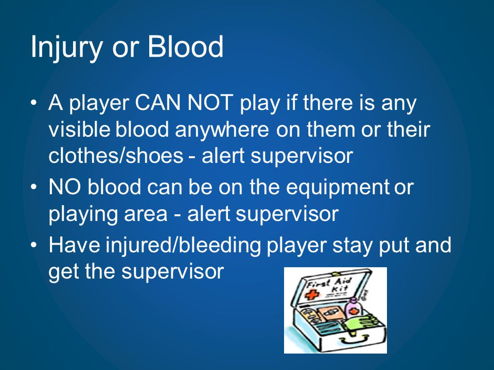 Injury or Blood A player CAN NOT play if there is any visible blood anywhere on them or their clothes/shoes - alert supervisor.