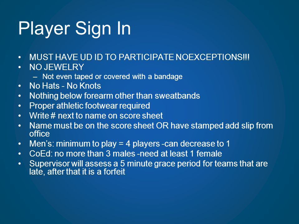 Player Sign In MUST HAVE UD ID TO PARTICIPATE NOEXCEPTIONS!!!